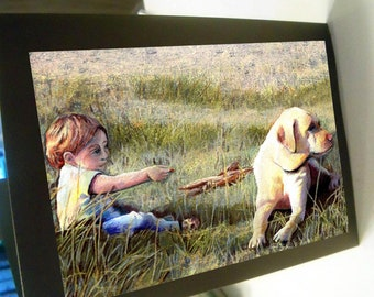greeting card print of original art-  the offering  boy and his dog yellow lab