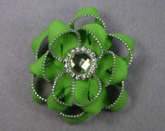 Green Flower Brooch, Zipper Brooch, Green Brooch, Green Pin, Zipper Pin, Zipper Art, Flower Pin, Upcycled, Recycled, Repurposed