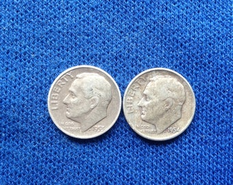 1953D and 1954D Roosevelt Silver Dimes, Old US Coins for Coin Collecting, 90 percent Silver Dime, Set of 2