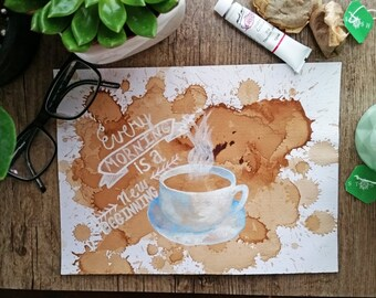 Original Coffee Painting, Painting with tea, Inspirational Painting, Mixed Media, Tea Painting, Quote Painting, Bible Painting, Motivational