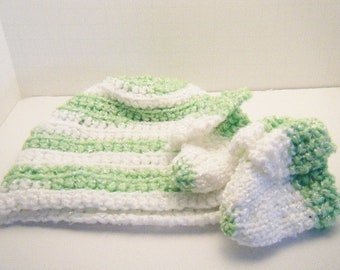 Baby Hat and Booties - Knitted Baby Booties - Crocheted Hat - Baby Shoes - Green and White
