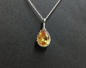 Wire Wrapped Champagne Yellow Cubic Zirconia Necklace