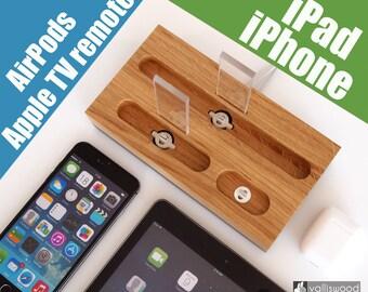 iPhone/iPad/AirPods dock - iPhone 7, iPhone 8, iPhone x dock, iPad 9.7 dock, iPad Air, iPad 10, birthday gift, unique gift, handmade quality
