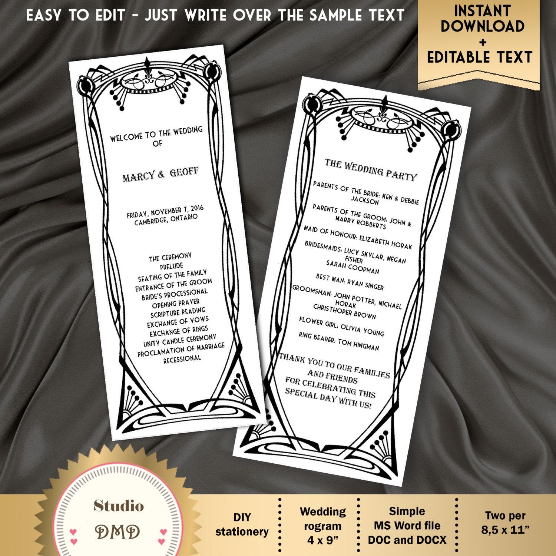 Druckbare Hochzeit Programm Vorlage Art-Deco-Great Gatsby