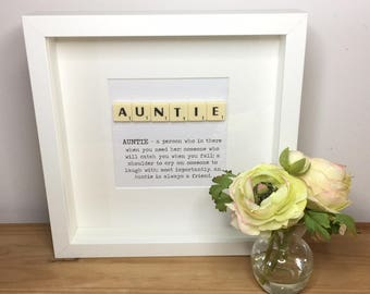 Scrabble wall art, Scrabble picture, Gift for Auntie, Aunt, Godmother, Personalised picture, Female birthday