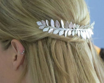 Large Silver Leaf Hair Comb,Silver Hair Comb,Leaf Hair Comb,Wedding Hair Comb,Bridal Hair Comb,Grecian Hair,Laurel Hair Comb, Grecian Hair