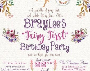 Fairy First Birthday Party Invitation Fairy Party Digital Printable Design