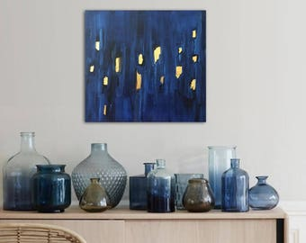 """blue abstract painting with gold leaf - modern boho decor - 12""""x12"""" acrylic on canvas - contemporary fine art - minimal - geometric"""