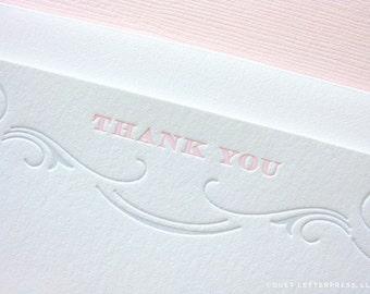 letterpress flourish thank you cards