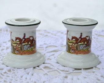 Vintage Porcelain Candlestick Holders English Steeplechase Horse or Fox Hunting Scene
