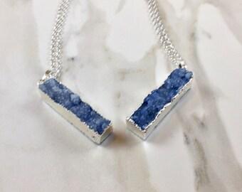 Blue Druzy Bar Pendant Necklace - Blue Druzy - Long Druzy Necklace - Stone Necklace - Blue Stone Necklace - Silver Pendant Necklace