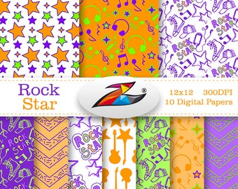 Sale Rock star Digital paper commercial use Rock Pattern scrapbook paper Electric Guitar Rock n Roll Rockstar Birthday Invitation