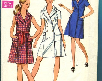 Simplicity 8653 Coat Dress Vintage Sewing Pattern 1960s Misses Petite Size 12 Bust 34
