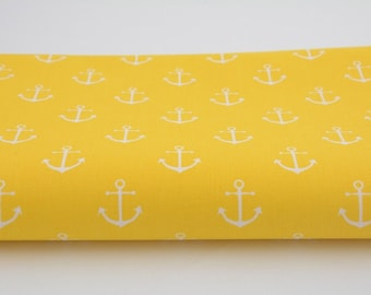 100% cotton fabric white anchors on a yellow a half metre 50 x 160 cm, 100% cotton printed accessories.