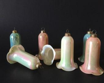 Vintage Plastic Bell Christmas Ornaments Set of 7