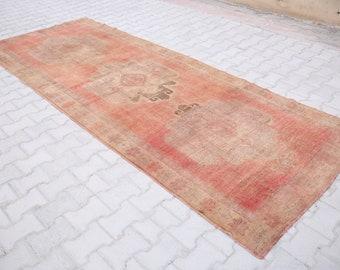 Free shipping4'3x11' ft Turkish Rug,Oushak Rug,Red Oushak Rug,Runner Rug,VintageTurkish Rug,Oushak Rug,Wool Rug Home Decor,Hallwary rug1244