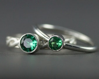 Emerald Stacking Rings - May Birthstone - Sterling Stack Rings 4mm, 5mm or 6mm Emerald Ring