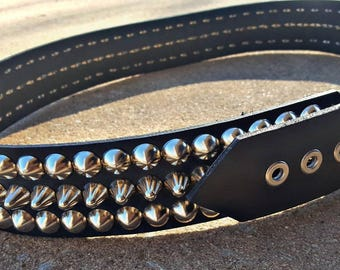 """2"""" Wide Real Leather Studded Belt *35""""-43""""*"""