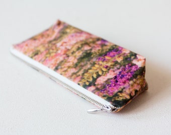 SALE Pink Pencil Case, Floral Makeup Bag, Gift For Her, Zip Pouch, Bridesmaid Bag, Vegan Cosmetic Bag, Bridesmaid Gift, Travel Accessories