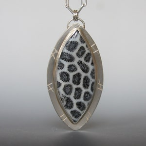 Black Fossil Fossilized Coral Pendant, metalwork, sterling silver pendant, stamped jewelry