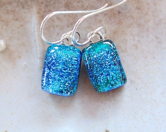 Light Blue Earrings, Blue, Petite, Dichroic Glass Earrings, Fused Glass Jewelry, Dangle, Sterling Silver, A8