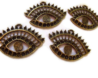 Eye See You Charms Antiqued Brass with Settings 4 Pcs