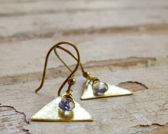 Ephemera - Brass Stone Earrings - Triangle Earrings - Periwinkle Iolite Earrings