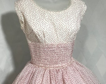 Vintage 1950s Prom Cupcake Dress Red and White Swiss Dot Organza Sleeveless Gown with Pleated Waist Size XXS