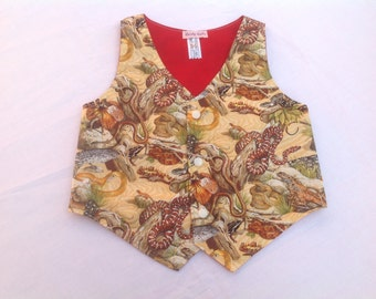 Boys Waistcoat, boys vest, Reptile print, snakes, lizards, 3/4 years, handmade, one only!