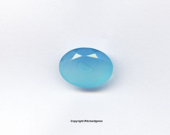 Large Faceted 16x12mm Faceted Oval Blue Chalcedony