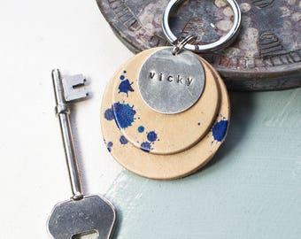 Personalised Leather & Metal Keyring, personalised keychain, Name keyring, Gift for her, Handmade keyring, Custom keyrings, FREE UK Delivery
