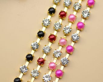 SS28 6mm Color Pearls Rhinestone Trim Chain New
