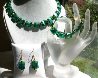 Parure  3-Piece Set Green and Blue Foiled Lampwork Glass and Gold Plated Pewter Beads