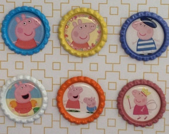 Peppa Pig Inspired Bottle Caps Necklace/Keychain/Zipper Pulls