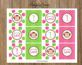 Mod Monkey Cupcake Toppers 8.5x11 Jpeg DIGITAL File PERSONALIZED