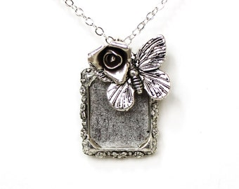 Picture frame butterfly rose silver charm necklace