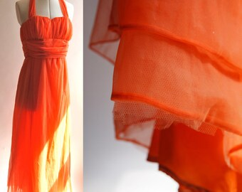ON SALE Vintage 60s bright tangerine orange home made flouncy nylon evening halter neck dress with net lining size 12