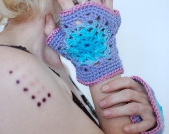 Energetic Mandala Sacred Geometry Arm Warmers Pixie Fairy Hippie Mittens Boho Gypsy Crochet Gloves Festival Psychedelic Cuffs Chakras