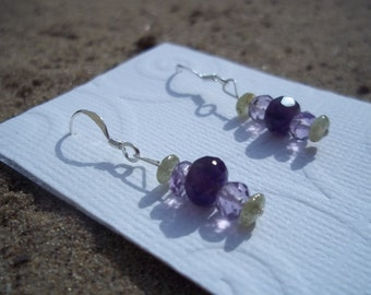 Age of Aquarius, Healing Stone Earrings, Faceted Amethyst, Purple and Violet, Green Garnet, Sterling Silver, Gemstone Synergy Earrings
