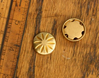 Vintage brass hollow textured cabochon. Starburst or floral. Sold per piece. Beadwork, Jewelry making, Jewelry supply.