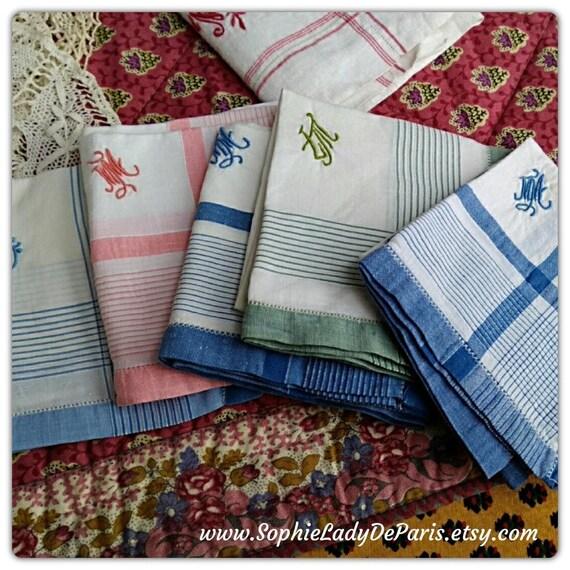 5 Antique French Women Handkerchief blue green pink and white plaid cotton monogram Fabric Tissue #sophieladydeparis