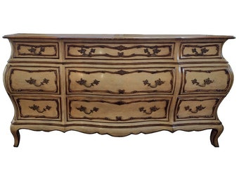 French Provincial Louis XV Style Bombe Dresser