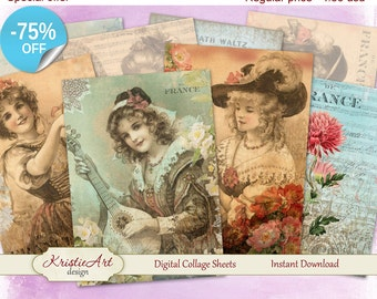 75% OFF SALE Digital Collage Sheet - La Musique Digital Cards C047 Greeting ATC Cards Printable download digital image cardmaking scrapbook