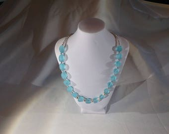 Light and airy turquoise sea glass and silver necklace