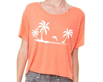 Oversized crop top with print summer shirt with palm trees festival tee coral orange white S M L/XL