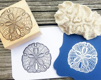 Sand Dollar Rubber Stamp - Handmade by BlossomStamps