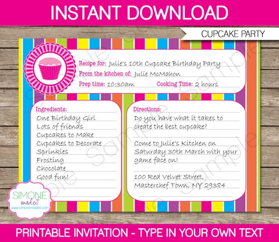 Cupcake invitation template recipe card invitation stopboris Choice Image