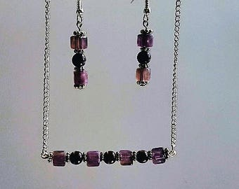 Jewellery set-Bar necklace and earrings-Purple beads