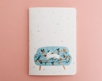 Bunny on the Couch Notebook - Illustrated Journal - Handbound Sketchbook - Blank pages - Lined pages