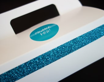 Dozen GABLE CAKE BOX (12) Sparkling Turquoise Blue Thank You Glitter Paper Food Grade Catering, To Go Favor, w/ Handle Breakfast at Tiffanys